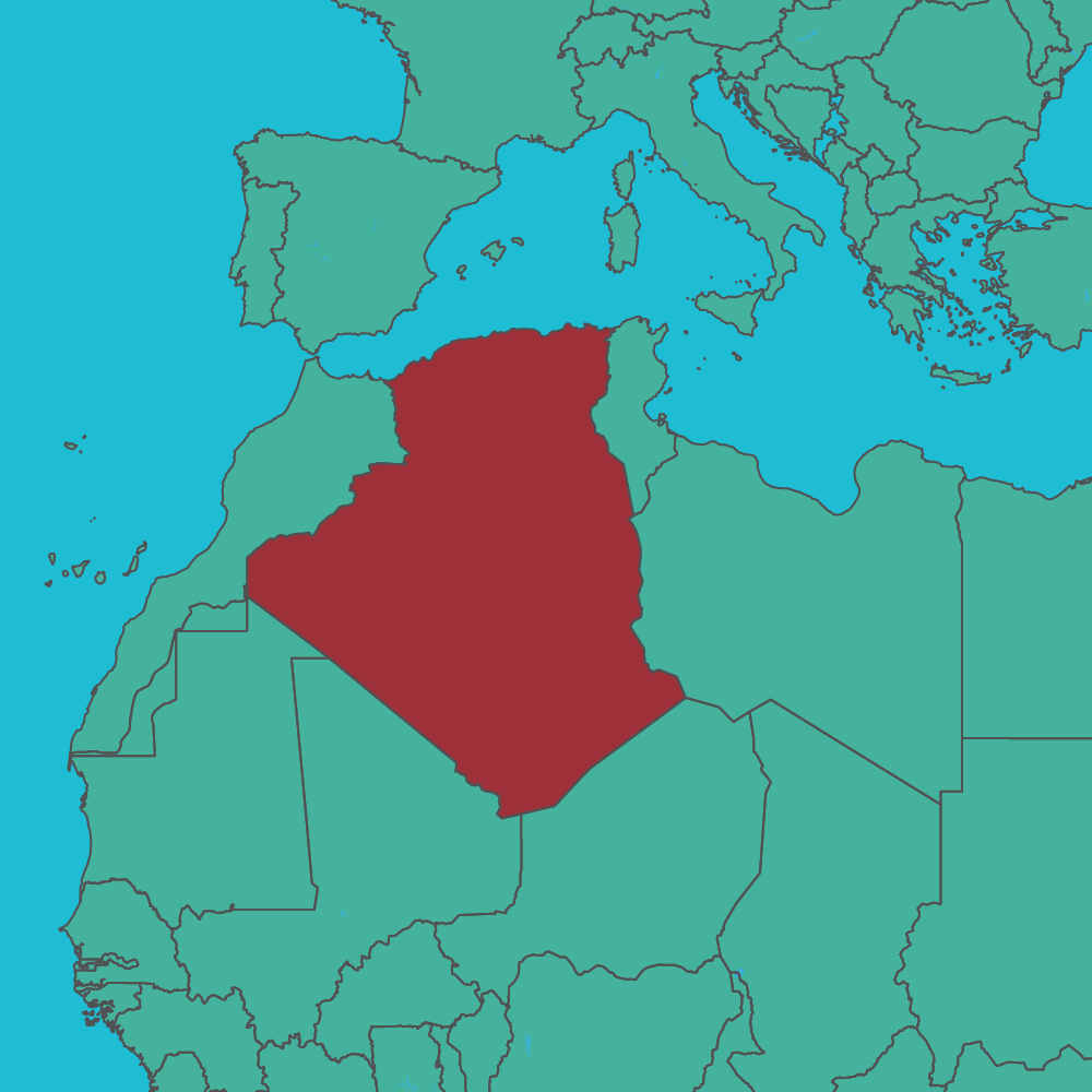 map of Algeria in Africa