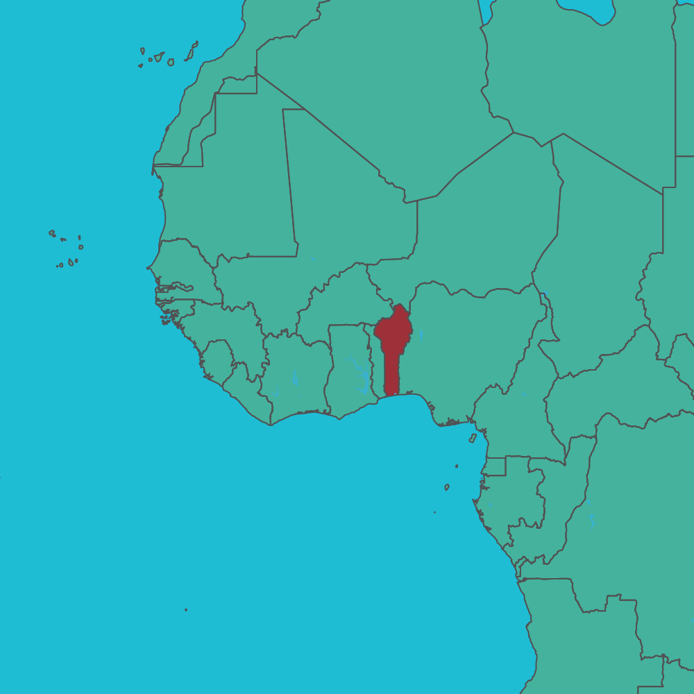 map of Benin in West Africa