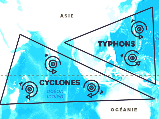 carte cyclones, ouragans et typhons