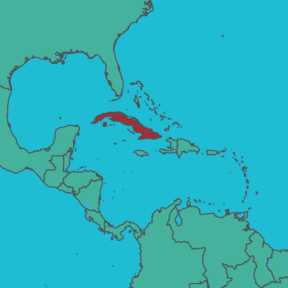 map of Cuba in Central America