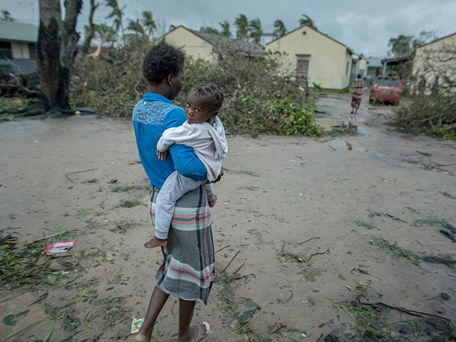 Mother and child in Mozambique after Cyclone Idai hit the country