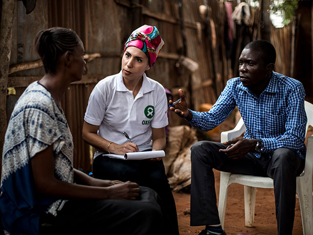 Interviewing displaced persons in Kasai, DRC