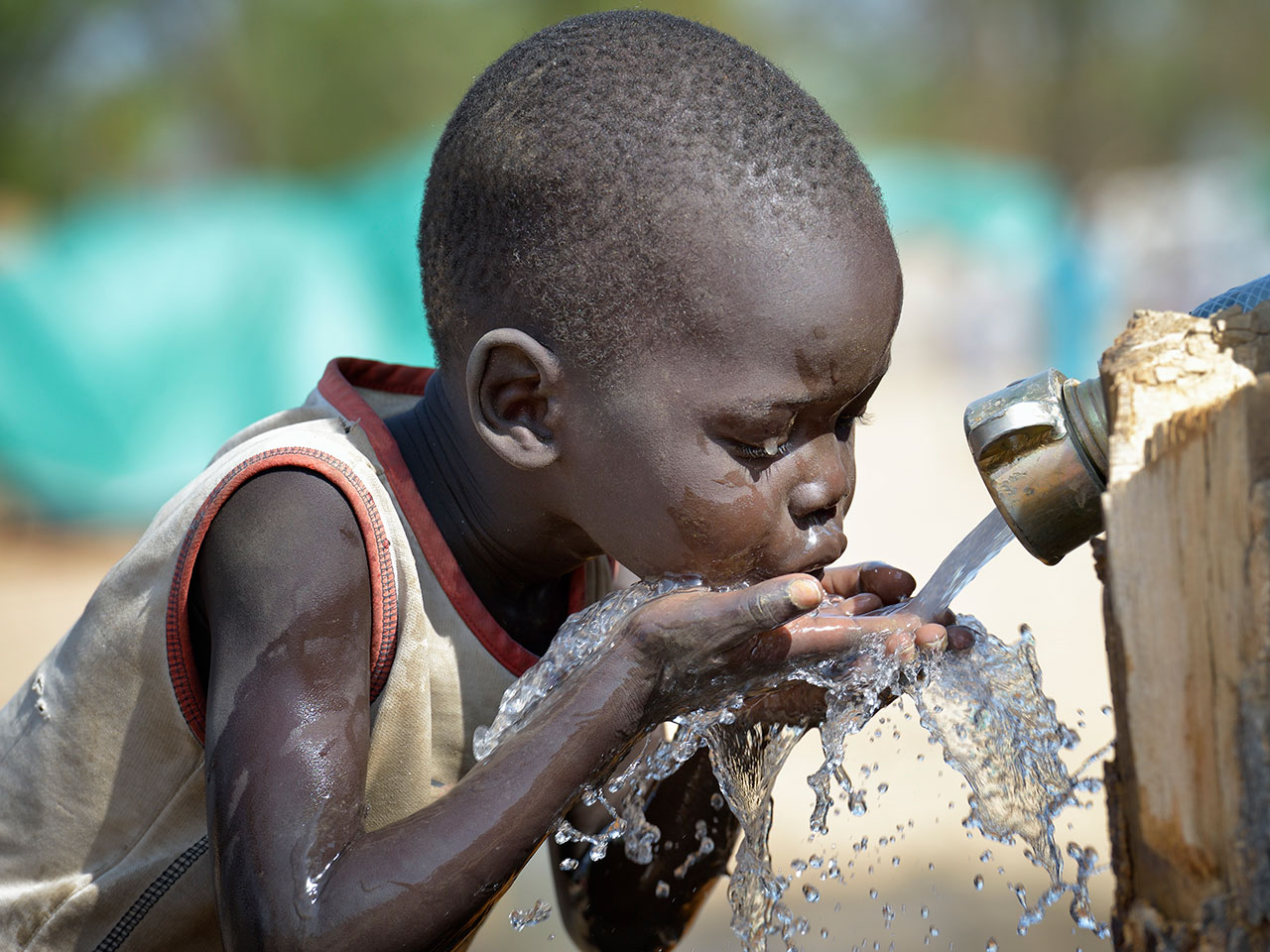 boy drinks water