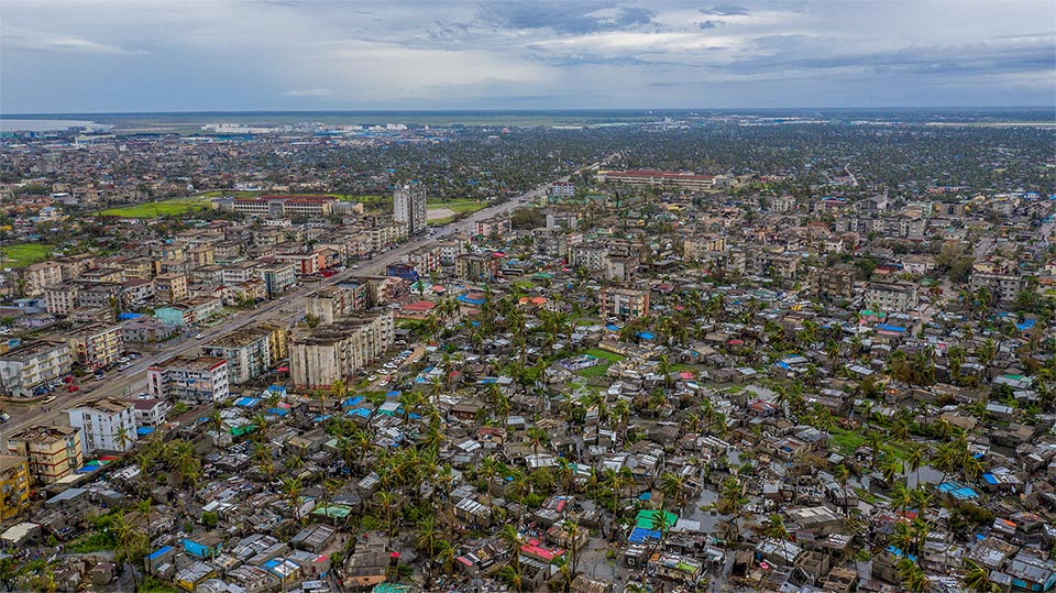 Aerial view of damage caused by Cyclone Idai Mozambique