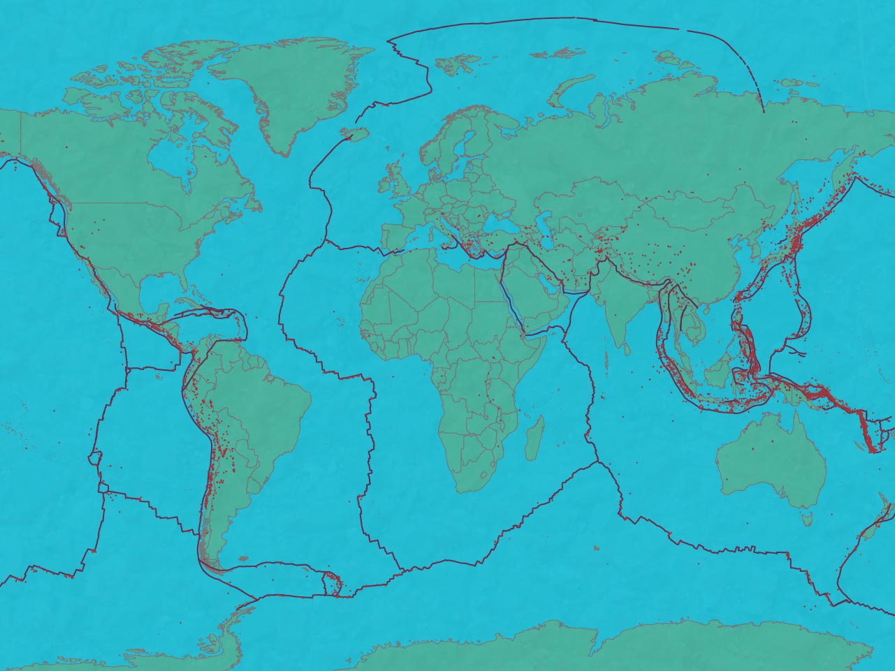 Earthquake and plate tectonics map