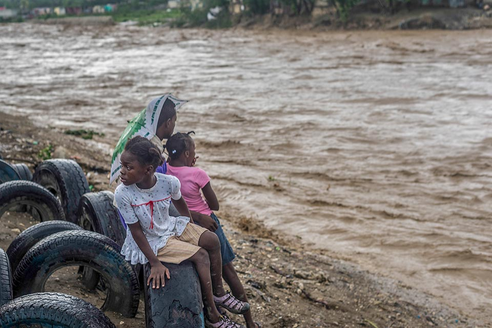 Flooded river in Haiti after Hurricane Matthew