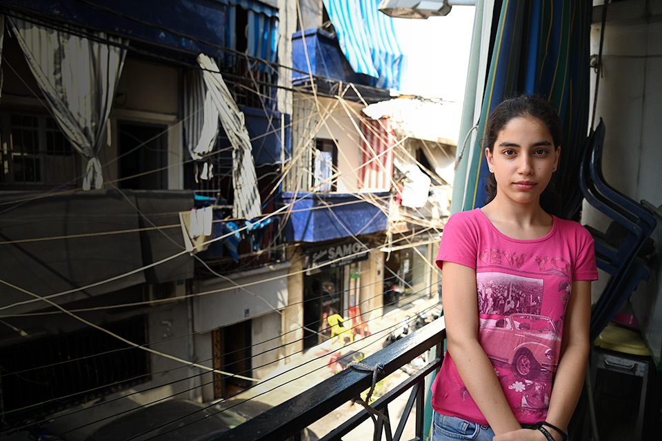 Lebanon Crisis girl in her apartment