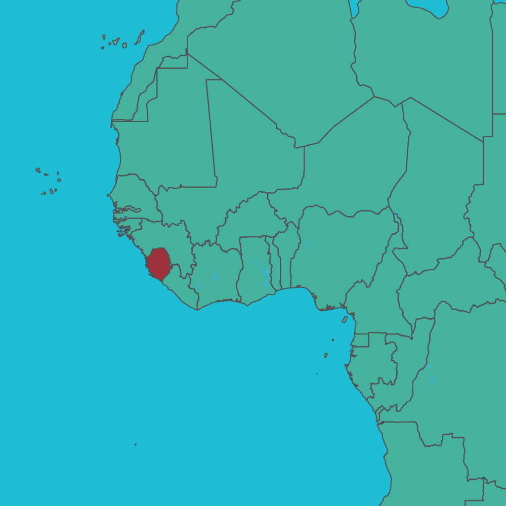 map of Sierra Leone in West Africa